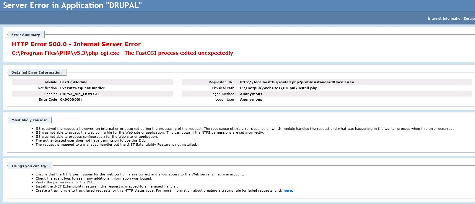 Auth (permission?) problem in IIS 7 | Drupal Groups
